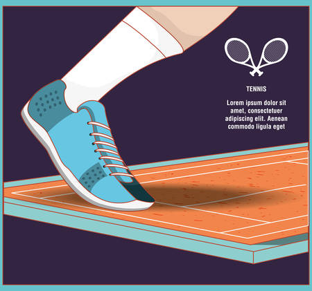 Ilustración de foot with shoe on court of tennis sport vector illustration design - Imagen libre de derechos