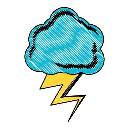 Illustration pour Cloud with thunder icon over white background, colored design. vector illustration. - image libre de droit