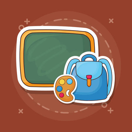 Ilustración de Chalkboard with backpack and paint palette over brown background, colorful design. vector illustration - Imagen libre de derechos