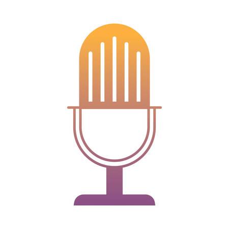 Illustrazione per retro microphone icon over white background, vector illustration - Immagini Royalty Free