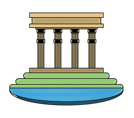 Illustration for building with pillars over white background, colorful design. vector illustration - Royalty Free Image