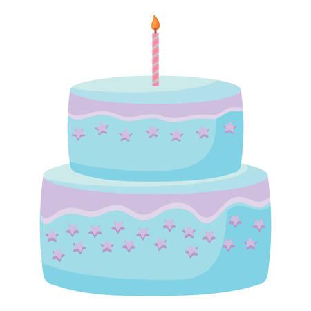 Illustration pour Sweet Birthday Cake icon over white background, colorful design. vector illustration - image libre de droit