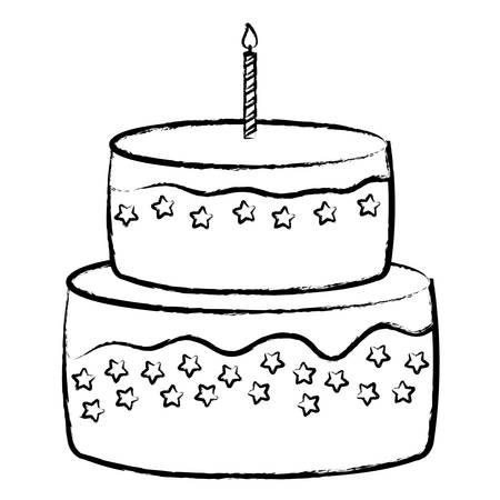 Illustration pour Sweet Birthday Cake icon over white background, vector illustration - image libre de droit