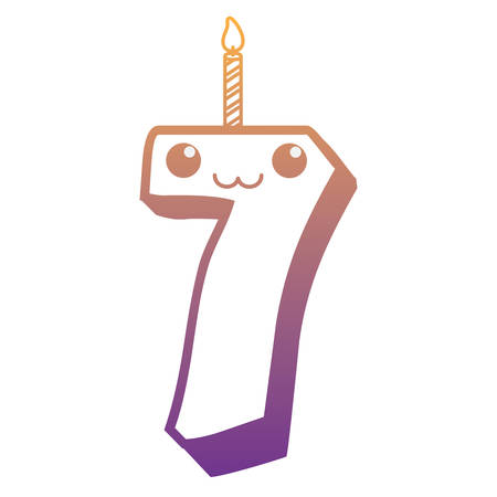 Kawaii birthday candle of number seven over white background, vector illustration