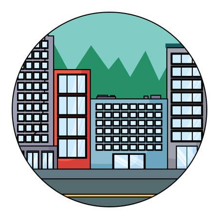 Illustration pour city buildings in circular shape over white background, colorful design. vector illustration - image libre de droit