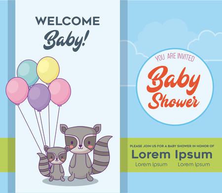 Ilustración de Baby shower  Invitation card with cute raccoons with balloons over blue background, colorful design. vector illustration - Imagen libre de derechos