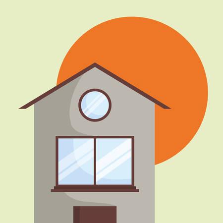 Illustration pour house over the sun and green background, colorful design. vector illustration - image libre de droit