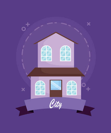 Illustration pour city emblem with house icon over purple background, colorful design. vector illustration - image libre de droit
