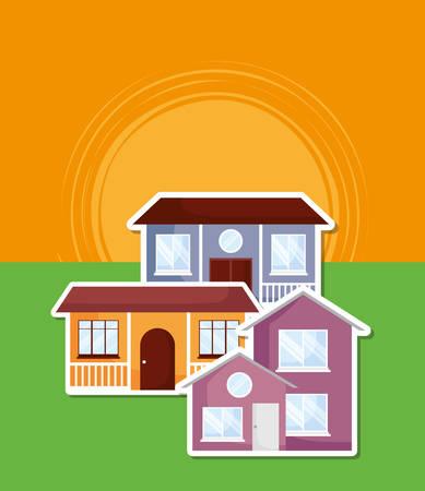 Illustration pour modern houses over sunset landscape, colorful design. vector illustration - image libre de droit