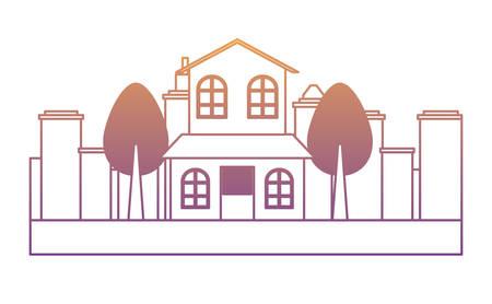 Illustration pour modern house and trees over white background,  colorful design. vector illustration - image libre de droit