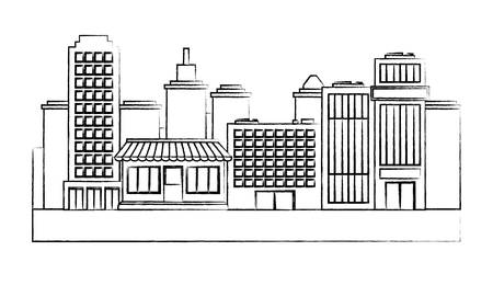 Illustration pour sketch of urban city with buildings and stores over white background, vector illustration - image libre de droit