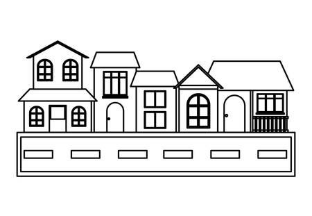 Illustration pour Street with Different houses along  over white background, vector illustration - image libre de droit