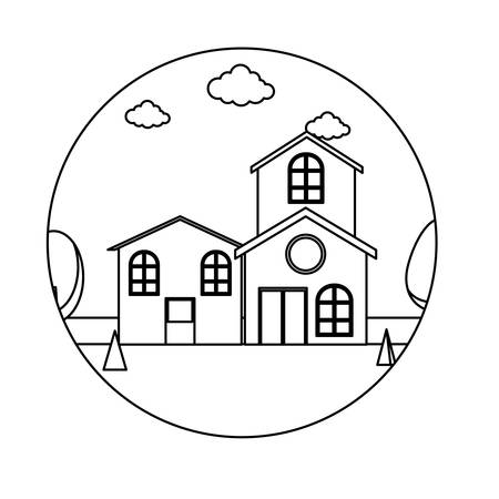 Illustration pour Frame in circle shape with traditional houses in a landscape over white background, vector illustration - image libre de droit