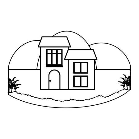 Illustration pour Traditional houses in a landscape over white background, vector illustration - image libre de droit