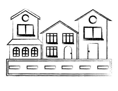 Illustration pour Street with houses over white background, vector illustration - image libre de droit