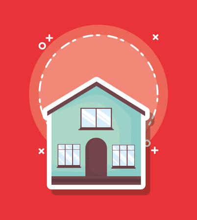 Illustration pour traditional house icon over red background, colorful design. vector illustration - image libre de droit