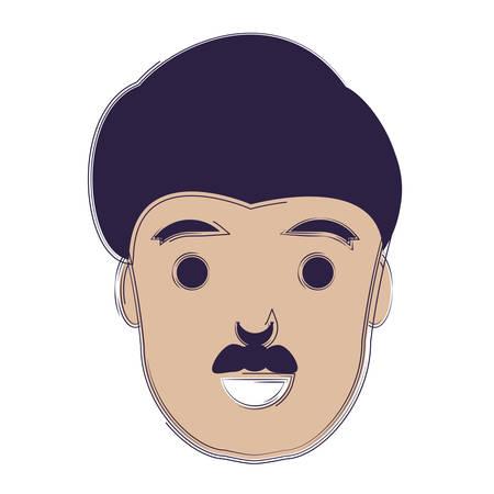 Illustrazione per cartoon man with mustache over white background, vector illustratio - Immagini Royalty Free