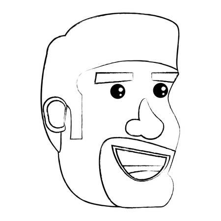 Illustrazione per cartoon man with beard over white background, vector illustration - Immagini Royalty Free
