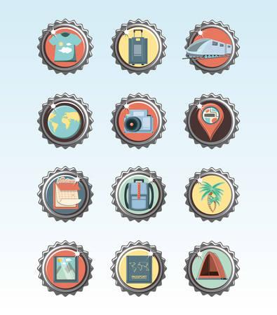 Ilustración de holidays vacations set icons icon vector ilustration - Imagen libre de derechos