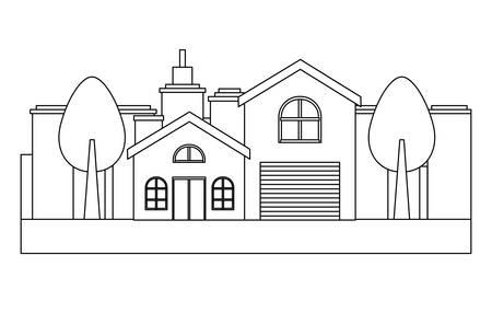 Illustration pour city landscape with modern house and trees over white background, vector illustration - image libre de droit