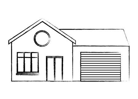Illustration pour modern house icon over white background, vector illustration - image libre de droit