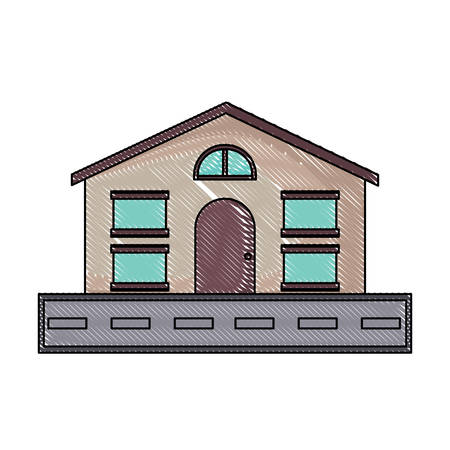 Illustration pour modern house and road over white background, vector illustration - image libre de droit