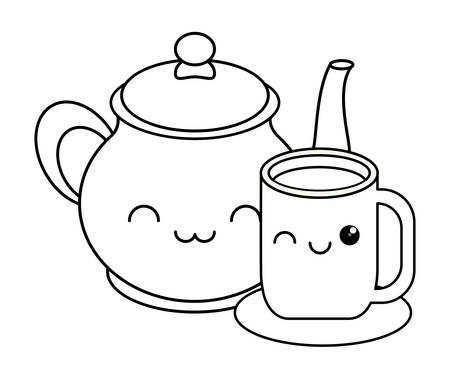 Ilustración de kawaii coffee mug and pot over white background, vector illustration - Imagen libre de derechos