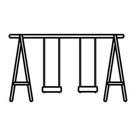 Illustration pour park double swings over white background, vector illustration - image libre de droit