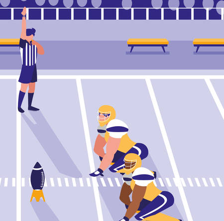 american football game in the stadium, colorful design. vector illustration
