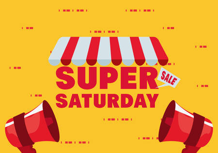 Illustration pour super saturday sale store megaphones vector illustration - image libre de droit