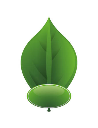 Ilustración de ecology button with leafs vector illustration design - Imagen libre de derechos