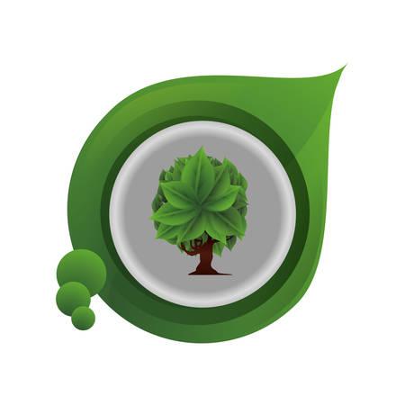 Ilustración de ecology leaf with tree plant vector illustration design - Imagen libre de derechos