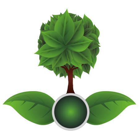 Ilustración de ecology leafs with tree plant icon vector illustration design - Imagen libre de derechos