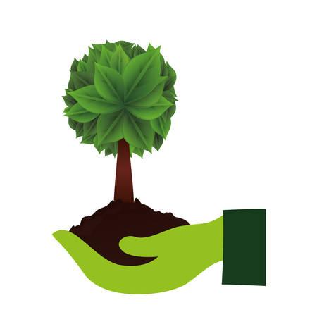 Ilustración de ecology hands lifitng tree plant vector illustration design - Imagen libre de derechos