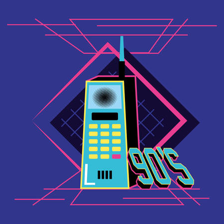Ilustración de nineties cell retro isolated icon vector illustration design - Imagen libre de derechos