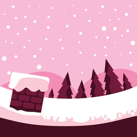 Illustration pour Chimney and pine trees over pink background, vector illustration - image libre de droit
