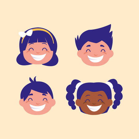Ilustración de head of cute children avatar character vector illustration design - Imagen libre de derechos