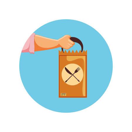 Illustration for delivery food bag icon vector illustration design - Royalty Free Image