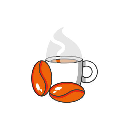 Illustration for cup coffee with grains vector illustration design - Royalty Free Image