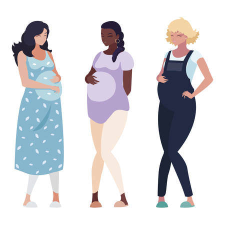 Ilustración de interracial group of pregnancy women characters vector illustration design - Imagen libre de derechos