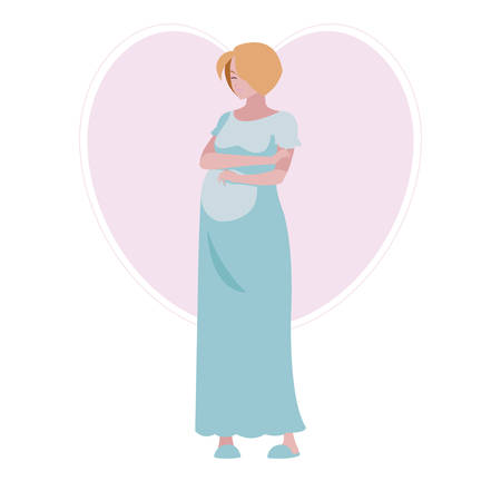 Ilustración de beautiful pregnancy woman in heart character vector illustration design - Imagen libre de derechos