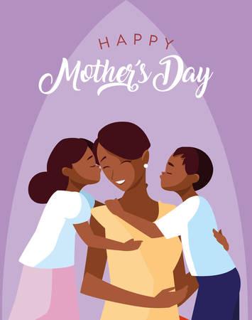 Illustration pour happy mother day card with mom black and children vector illustration design - image libre de droit
