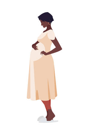 Ilustración de beautiful afro pregnancy woman character vector illustration design - Imagen libre de derechos