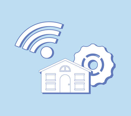 Illustration pour house with gear wheel and wifi symbol over blue background, colorful design. vector illustration - image libre de droit