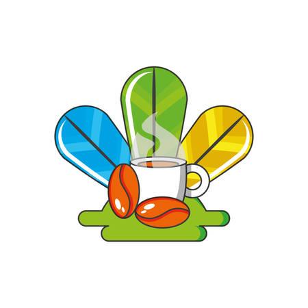Illustration for cup coffee with grains and feathers decoration vector illustration design - Royalty Free Image