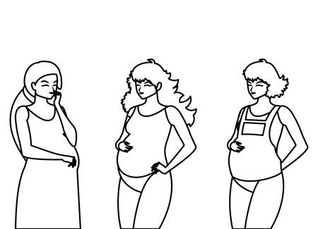 Ilustración de group of beautiful pregnancy women characters vector illustration design - Imagen libre de derechos