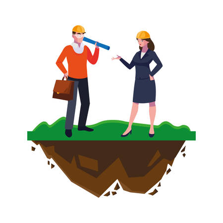Illustrazione per architect builder with female engineer on the lawn vector illustration design - Immagini Royalty Free