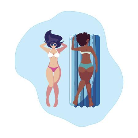 Illustration pour beautiful interracial girls with float mattress in water vector illustration design - image libre de droit