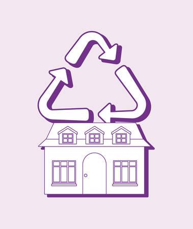 Illustration pour smart home design with house and recycle over purple background, colorful design. vector illustration - image libre de droit