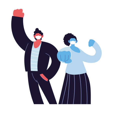 Ilustración de positive couple using face masks vector ilustration designe - Imagen libre de derechos
